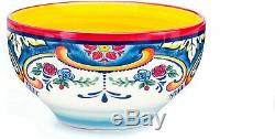 16 Piece Dinnerware Dish Set For 4 People Floral Colorful Festive Bohemian Style