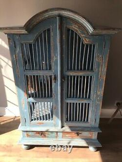 194050 Jail/ Grill antique Curio Cabinet, Rustic, French Shabby Chic look