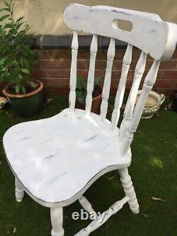 4xVINTAGE WOODEN White Hand Painted FARMHOUSE KITCHEN DINING CHAIRS shabby chic