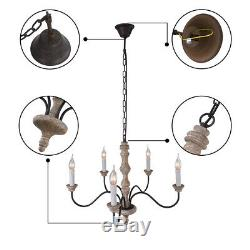 5 Head Candle Chandelier French Country Shabby Chic Wood Rust Metal Pendant Lamp