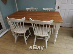 5ft rustic pine farmhouse kitchen dining table and chairs and bench shabby chic