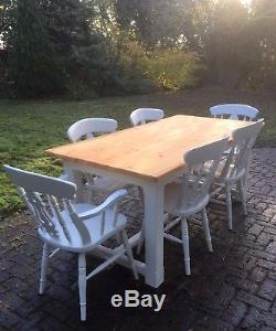 6 FT White Pine Dining Table and 6 Painted Chairs Farmhouse Kitchen Shabby Chic