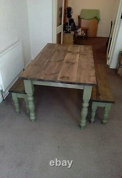 6ft handmade solid pine shabby chic table 2 chairs and 2 benches
