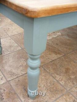6ft x 3ft shabby chic painted chunky solid pine farmhouse kitchen / dining table