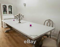 8,10,12 seater Large Shabby Country Painted Table, Curved Queen Post End