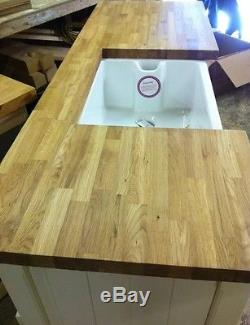 A Pine Freestanding Kitchen Belfast Butler Sink Unit Oak Top Rustic Shabby Chic