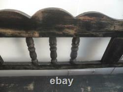 A Shabby Chic Black 4 Seater Antique/Old Pine Kitchen/Hall Box Settle/ Bench