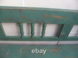 A Shabby Chic Green 4 Seater Antique/Old Pine Kitchen/Hall Box Settle/ Bench