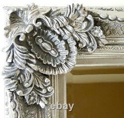Abbey Large Full Length Shabby Chic Vintage Leaner Wall Mirror Silver 65 x 31
