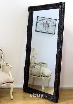 Abbey Large Shabby Chic Vintage Wall Leaner Mirror Black 65 x 31