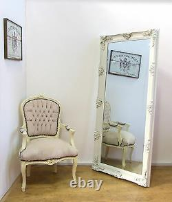 Abbey Large Shabby Chic Vintage Wall Leaner Mirror Cream 65 x 31