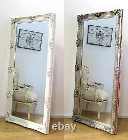 Abbey Large Shabby Chic Vintage Wall Leaner Mirror Cream Silver 65 x 31