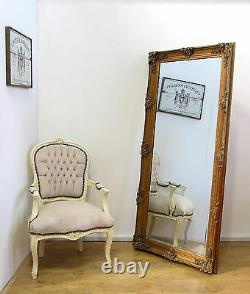 Abbey Large Shabby Chic Vintage Wall Leaner Mirror Gold 65 x 31
