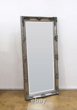 Abbey Large Shabby Chic Vintage Wall Leaner Mirror Silver 65 x 31