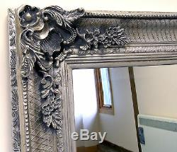 Abbey Large Silver Shabby Chic Vintage Antique Wall Hanging Mirror 31 x 43