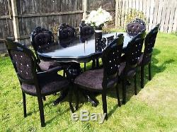 Absolutely Stunning Antique Black Shabby Chic Italian table and 8 Chairs