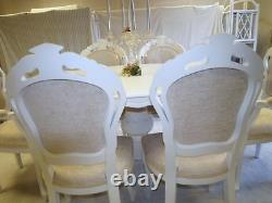 Absolutely Stunning Antique Ivory Shabby Chic Italian table and 6 Chairs