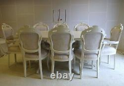 Absolutely Stunning Antique Ivory Shabby Chic Italian table and 8 Chairs