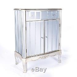 Annabelle French Mirrored Vintage Shabby Chic Silver Gilt Cabinet DUSX