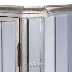 Annabelle French Vintage Distressed Shabby Chic Silver Gilt Leaf 2 Door Cabinet