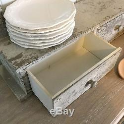 Antique Chic Style French Grey Shelf Rack Kitchen Shabby Hook Drawers Wall