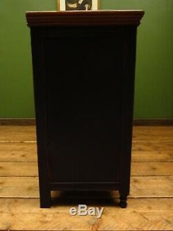 Antique Large Black Painted Sideboard Drinks Cupboard, Gothic shabby chic