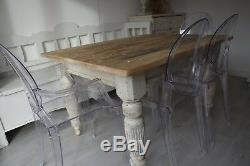 Antique Oak shabby Chic nordic scandi Painted Farmhouse Kitchen Table Delivery