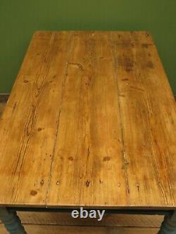 Antique Painted Pine Country Table, Kitchen or Dining Table to seat 4, blue base