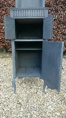 Antique / Vintage Solid Pine Drinks / Cocktail Cabinet In Graphite Annie Sloan