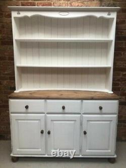 Antique White Chalk Painted Vintage Solid Pine Wood Shabby Chic Welsh Dresser