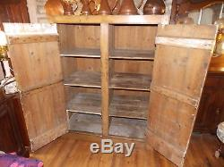 Antique large stripped PINE CUPBOARD kitchen larder pantry housekeepers school