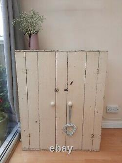 Antique old pine freestanding cupboard cream chippy paint shabby chic vintage