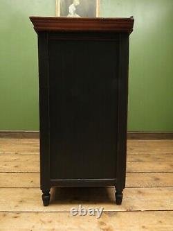 Art Nouveau Black Painted Sideboard with open Hutch, Gothic shabby chic