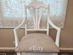 Beautiful Oak Farmhouse Extending Dining Table Chairs White Taupe Shabby Chic