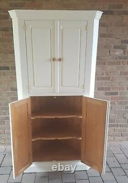 Beautiful Quality Shabby Chic Solid Pine Corner Cabinet Kitchen Pantry Cupboard