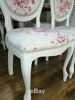 Beautiful shabby chic, French, country round table and four chairs