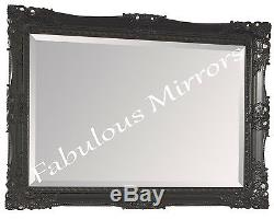 Black Shabby Chic Ornate Decorative Carved Rococo Wall Mirror 31.5 x 27.5
