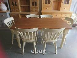 Brand New Painted 5ft Farmhouse Dining Table & 6 Spindle back Chairs in Cream