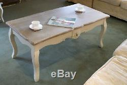Casamoré Devon Shabby Chic Cream Painted and Lime Wash Coffee Table