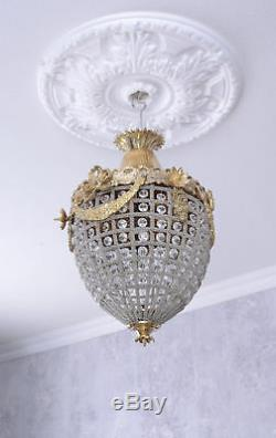 Chandelier Baroque Lamp Crystals Ceiling Shabby Chic Vintage basket antique