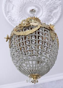 Chandelier Baroque Lamp antique Crystals Ceiling Shabby Chic Vintage basket new