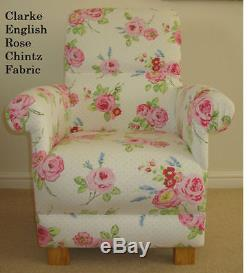 Clarke English Rose Chintz Fabric Chair Bedroom Floral Pink Shabby Chic Armchair