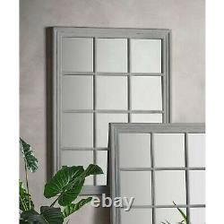 Costner Large Distressed Grey Shabby Chic Vintage Window Wall Mirror 130 x 95cm