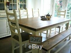 Country Chunky Pine Farmhouse Dining Table 8 Seater 4 Chairs & Bench Shabby Chic