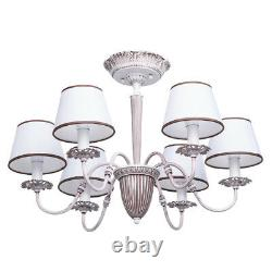 Delicate shabby chic chandelier white-toffee colour metal fabric shades