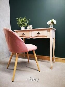 Desk and Chair Set French Style Home Office Workspace Pink Chair Study Laptop