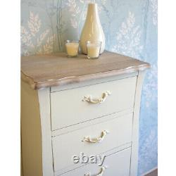Devon 5 Drawer Tallboy/Chest of Drawers French Style Shabby Chic Cream Painted