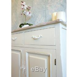 Devon Cream Painted 2 Door Sideboard with 2 Drawers Shabby Chic French Style