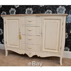Devon Cream Painted 2 Door Sideboard with 4 Drawers in a Shabby Chic Style
