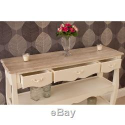 Devon Shabby Chic Vintage Cream French Style 3 Drawer Console w Display Shelves